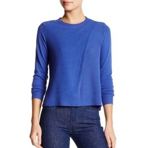 Rebecca Taylor Wool Blend Mesh Crossover Sweater